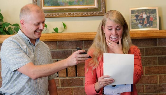 young lady receives her mission call