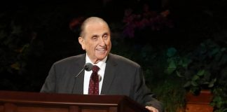 President Thomas S. Monson speaks at General Conference