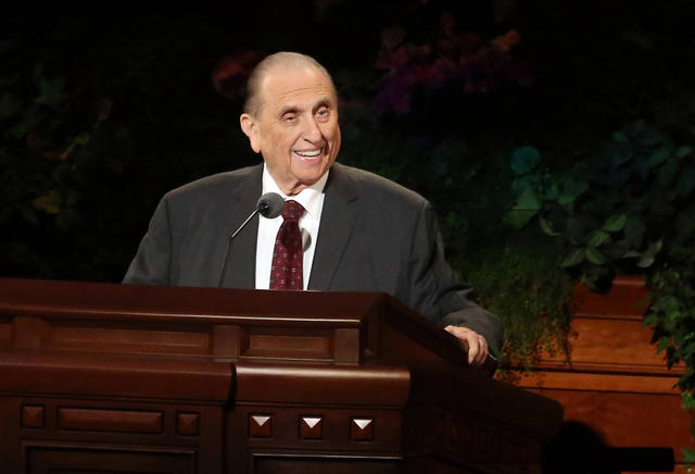 President Thomas S. Monson telling a story at General Conference