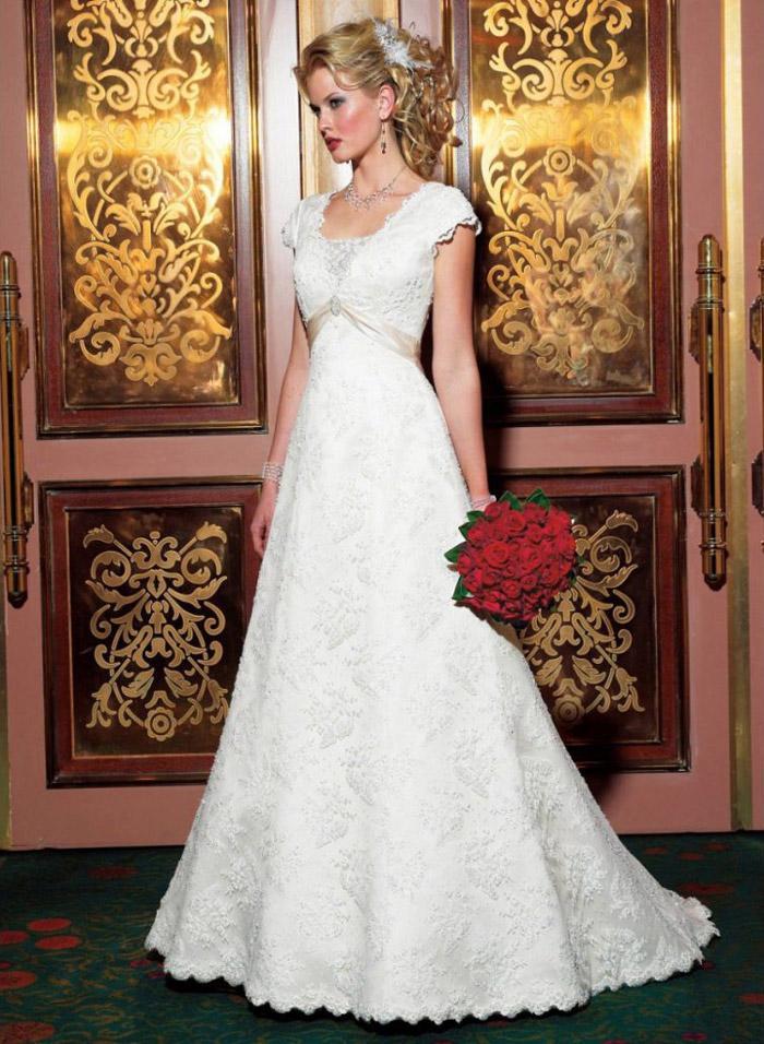 An A-line wedding gown a modest wedding gown
