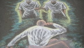 A chalk art image of God and Jesus Christ appearing to Joseph Smith