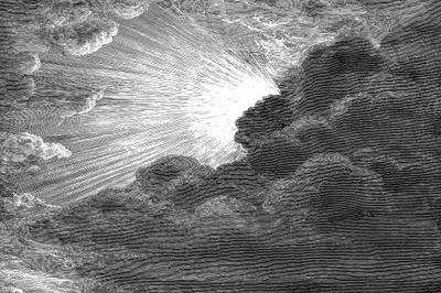 black and white image of the sun peaking through clouds