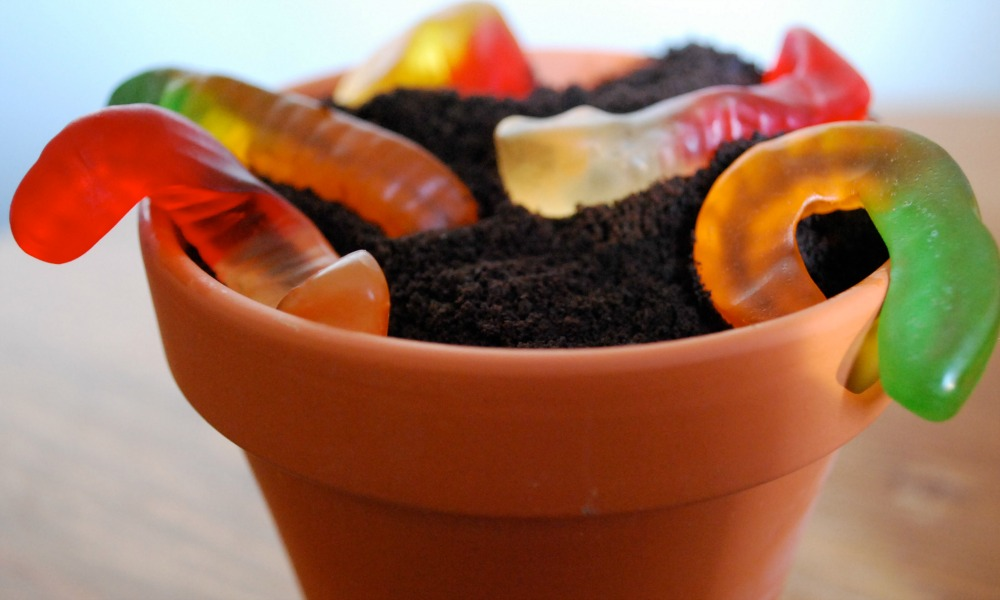 Oreos and gummy worms make a delicious dirt