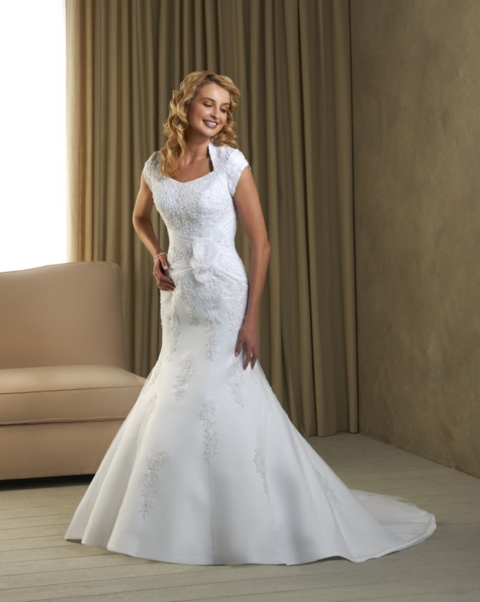 A Fit and Flare style Wedding Dress a modest wedding gown