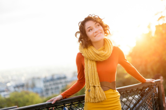 Woman being grateful for a beautiful day