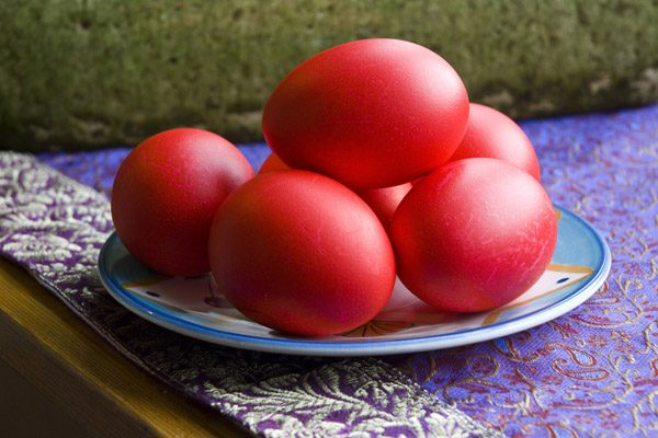 Easter eggs dyed red
