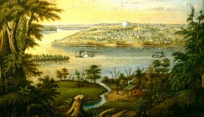 Painting of historic Nauvoo from across the river