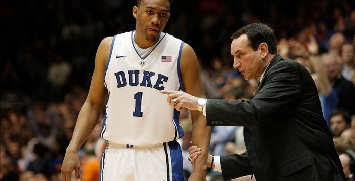 Jabari Parker receives instructions from Coach Mike Krzyzewski