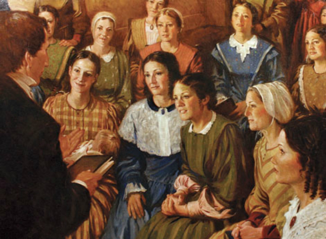 Joseph Smith Instructing Relief Society Sisters