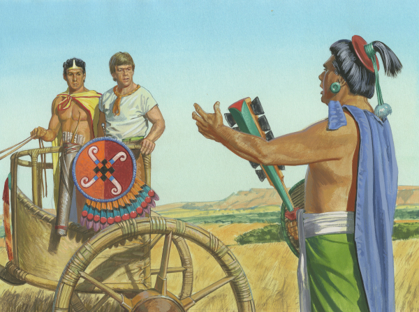 King Lamoni's father greets Ammon and Lamoni