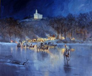The Saints Leave Nauvoo across the frozen Mississippi river