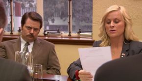 Leslie and Ron from Parks and Recreation not happy with each other