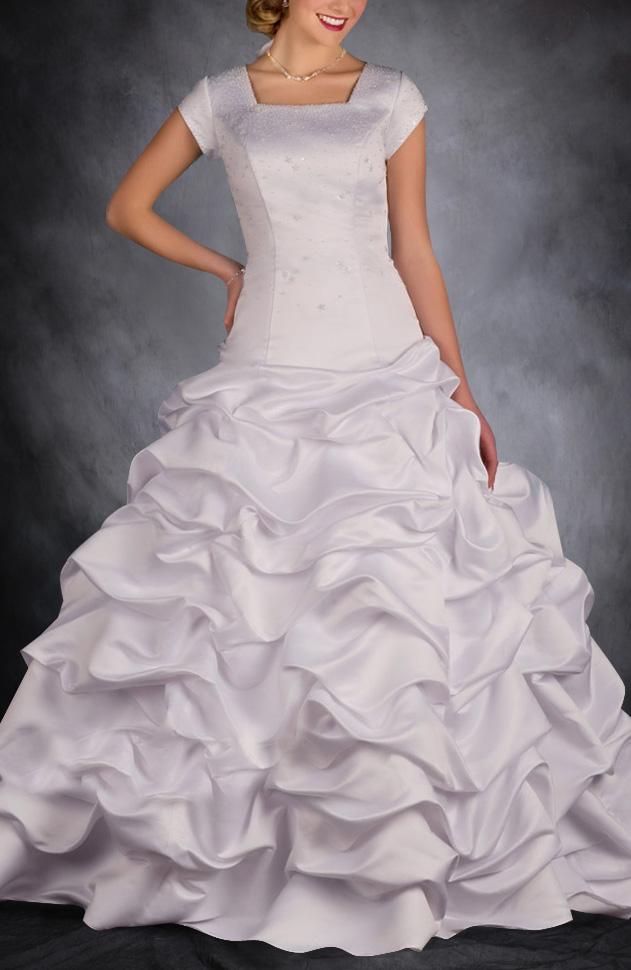 Pick Up Skirt style wedding dress a modest wedding gown