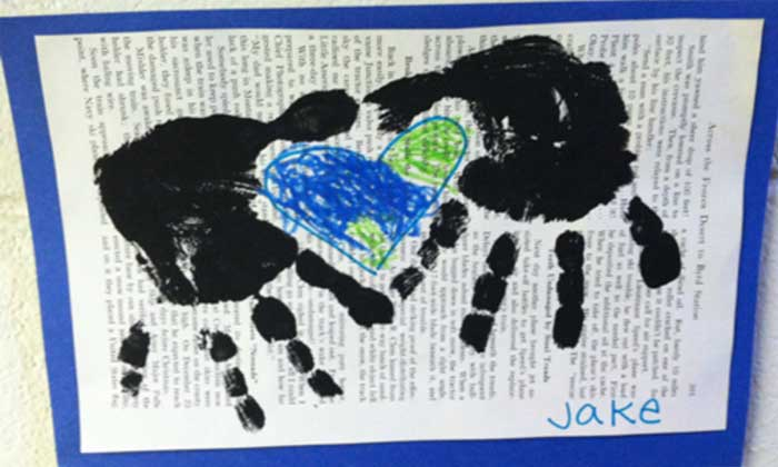 Finger painting of earth on newspaper print