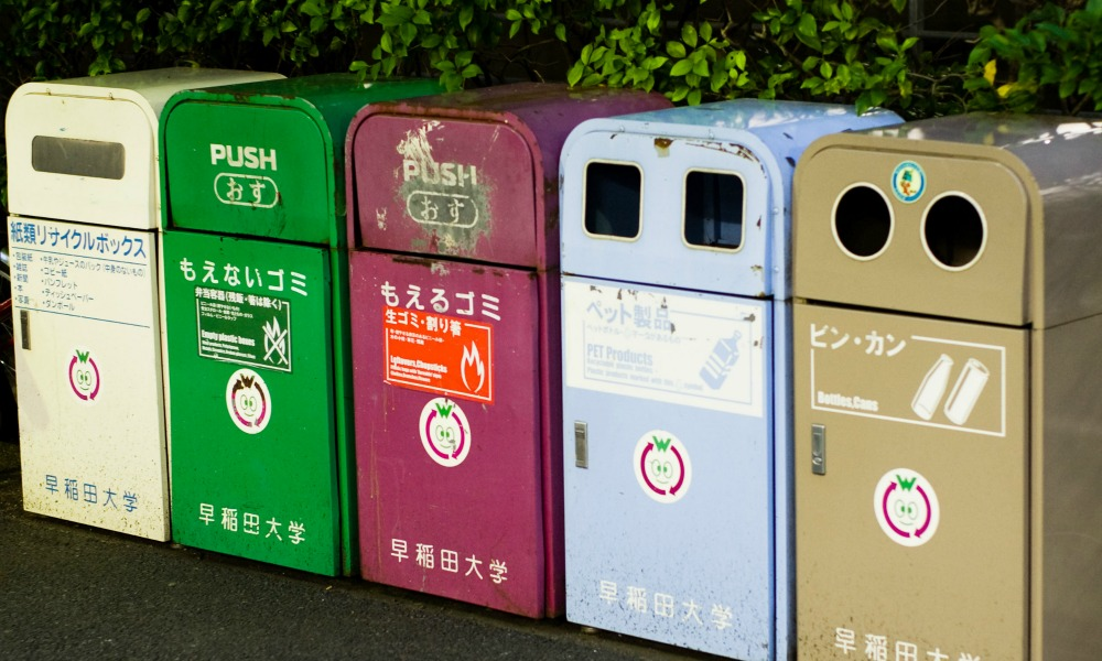 A variety of recycling bins
