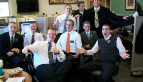 A group of missionaries poses in the referral center at the Provo MTC