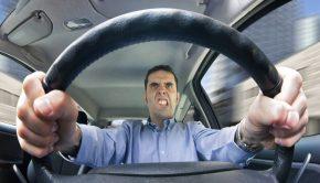 Man driving angrily