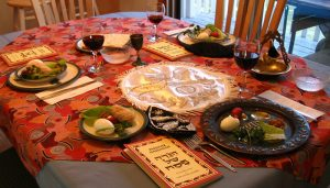 A traditional Passover Seder dinner setting.