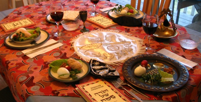 A traditional Passover Seder dinner setting