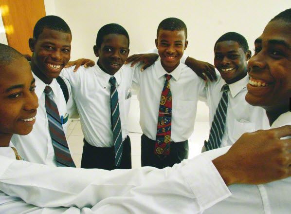 Group of Young Men Huddle Together