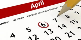 Calendar with April 6th circled