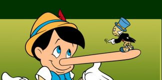 Pinocchio with a long nose from telling a lie