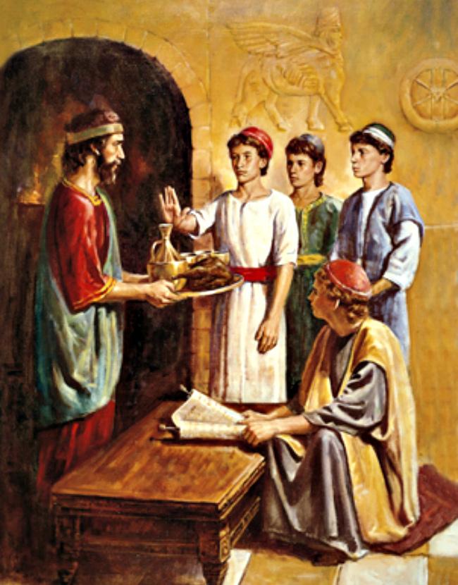 Daniel, Shadrach, Meshach, Abednego refuse king's meat