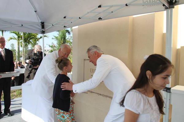 President Uchtdorf assists in setting the cornerstone of the Ft. Lauderdale Temple