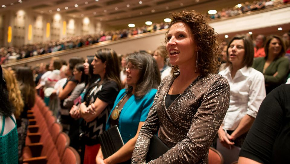 Mormon Women attending Relief Society session of General Conference