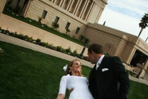A couple is married at the Mesa, Arizona Temple