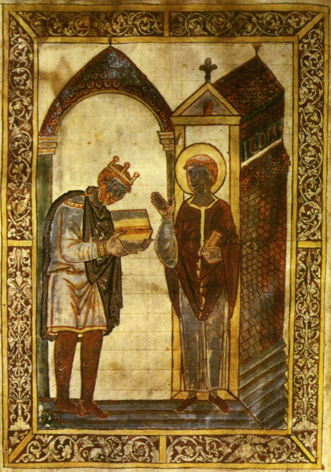 A page from a copy of Bede's Lives of St. Cuthbert, showing King Athelstan presenting the work to the saint. This manuscript was given to St. Cuthbert's shrine in 934.