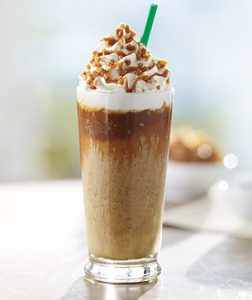 Glass of caramel creme frappuccino