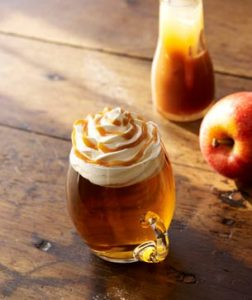 Glass mug filled with caramel apple spice
