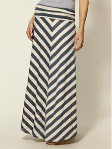 Chevron Stripe Maxi Skirt - Navy/White