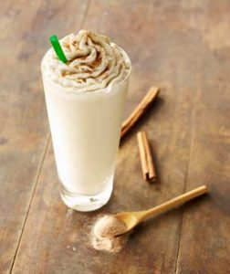 Tall glass of cinnamon dolce frappuccino