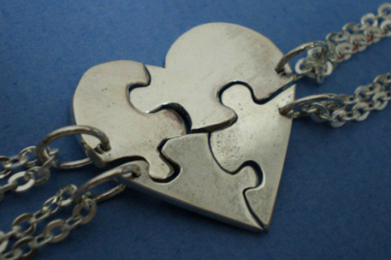 Heart Jigsaw Puzzle Necklace