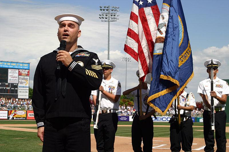 navy soldier sings God Bless America