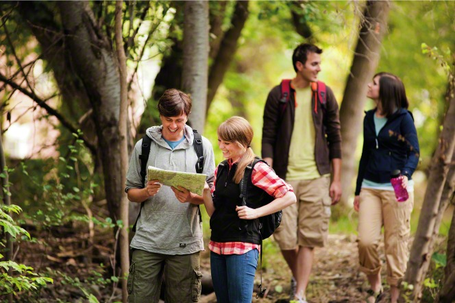 young single adults hiking activity
