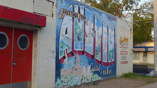 Tourist greeting sign from Austin, Texas