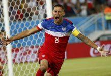 US soccer captain Clint Dempsey celebrating after he scores a goal.