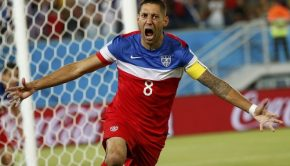 US soccer captain Clint Dempsey celebrating after he scores a goal.