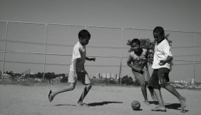 Kids playing soccer in Brazil