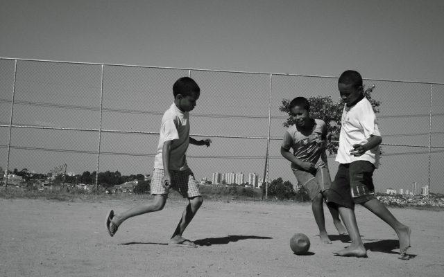 Kids playing soccer in Brazil