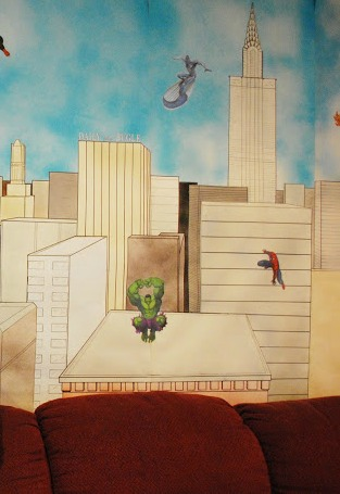 Wall painting of Superheroes