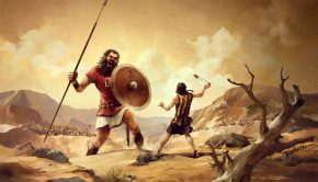 David and Goliath cartoon