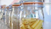 Grain and pasta food storage in glass jars