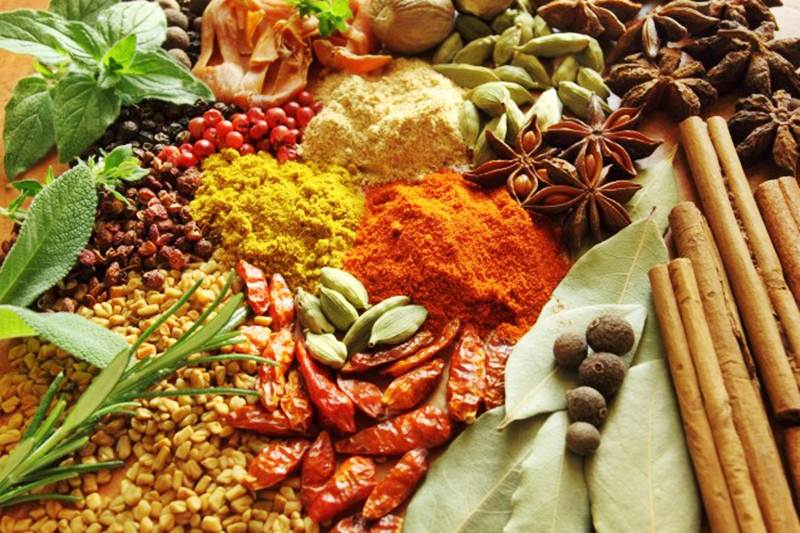 Assorted herbs and spices for food storage
