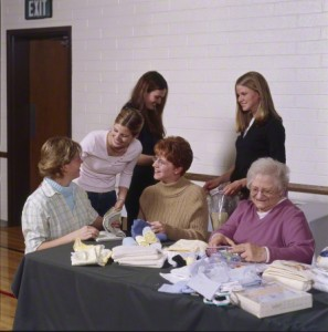 relief society members serving in their church callings