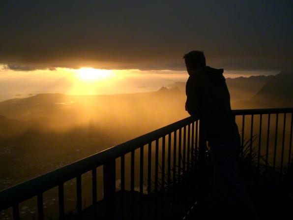 sunrise with a man