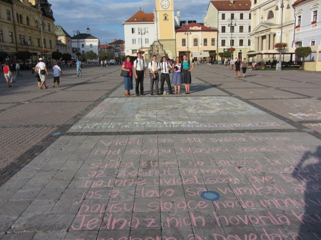 Missionaries pose in the town square of Zvolen, Slovakia